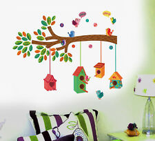 Wall Stickers Nursery Colourful Bird House on a Branch  57145