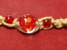"RED GLASS BEAD w/ YELLOW FLOWER ROPE NECKLACE 7"" LONG"