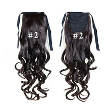 Curly Hair Extension Clips Natural Wrap Around Ponytail tape Lace front Wigs #2