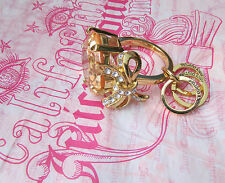 Juicy Couture Key Ring fob Purse Charm BIG Gold Engagement Ring Pink Heart NEW