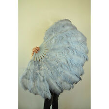"light Grey 2 layers Ostrich Feather Fan Burlesque dancer  30""x 54"" gift box"