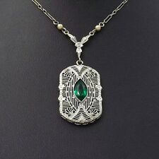 ART DECO 14K WHITE GOLD EMERALD SEED PEARL PENDANT NECKLACE Sz 18""