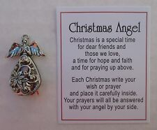a Christmas Angel box Charm open up write carry wish or prayer Ganz carry with u
