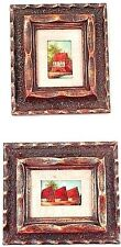 2 Vintage Mini Miniature Framed Oil on Board Dutch Farm House Houses Paintings