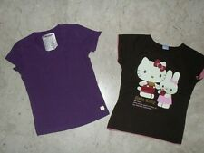 LOTTO N. 2 MAGLIETTE T-SHIRT IN COTONE HELLO KITTY + FREDDY TG. 9/10 ANNI