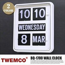 NEW TWEMCO Retro PATAPATA FLIP Wall CLOCK BQ-1700 WHITE Interior Fashionable JPN