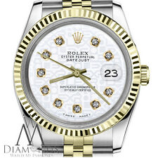 Men`s Rolex 36mm Datejust2Tone White Color Jubilee Dial with Diamonds