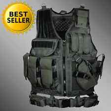 Tactical Vest SWAT Gear Molle Assault Military Black Pistal Holster Ammo Police