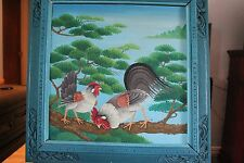 Original Acrylic Painting on Wood  HEN and ROOSTER   Carved Wood Frame Signed