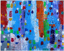 SUMMER IN THE CITY huile sur toile oil on canvas Art Abstrait modern painting