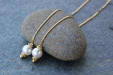 White pearl threader earrings- Swarovski pearls, 22k gold plated sterling silver