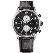 NEW HUGO BOSS MENS BLACK CHRONOGRAPH LEATHER WATCH - 1512631 - RRP £289