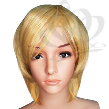 Straight Natural Golden Blonde short layer full Women Wig disco party cosplay