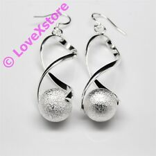 925 Sterling Silver Plated Twist + Ball Earring Dangle Earrings Free Shipping