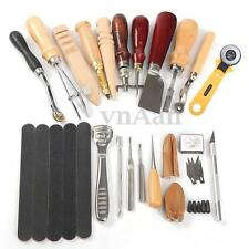 20PCS Set Leather Craft Stitching Carving Hand Sewing Saddle Groover Punch Tools