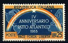 ITALIA REP. - 1953 - 4° Anniversario del Patto Atlantico. 25 l. verde azz.e aran