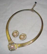 Vintage CHRISTIAN DIOR Crystal Rhinestone Faux Pearl Snake Necklace Earrings Set