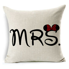 "18""x45cm Mr.Mickey and Mrs.Minnie 02 Cotton Linen Decor Cushion cover Pillowcase"