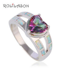 OR759#7 Heart Rainbow Mystic Topaz Jewelry Silver Stamped White Fire Opal Rings
