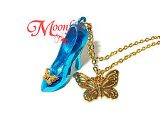 CINDERELLA 2015 GLASS SLIPPER PENDANT NECKLACE BUTTERFLY HAVE COURAGE & BE KIND