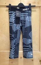 NIKE PRO Tights SIZE XS 6 BNWT Tight FIT Grey BLACK Geometric PATCHWORK Print