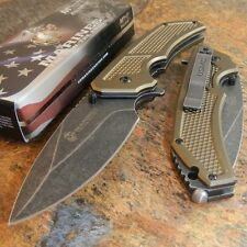 USMC Marines Brown Spring Assisted Opening Tactical Rescue Folding Pocket Knife