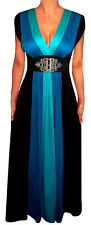 ZB2 FUNFASH BLUE BLACK COLOR BLOCK LONG MAXI COCKTAIL DRESS Plus Size 1X 18 20