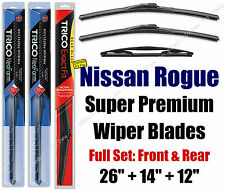 Top-of-the-line Wipers 3pk Front & Rear fit 2008-2013 Nissan Rogue 16260/140/12J