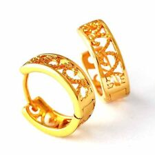 Toddler yellow Solid Gold Plated hollow out flower small hoop earrings for child