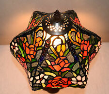 "12""W Rose Flowers Stained Glass Tiffany Style Table Desk Lamp, Zinc Base!"