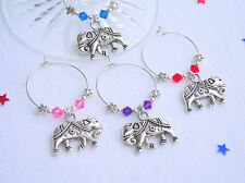 Gorgeous Set 6 Elephant Wine Glass Charms. Swarovski Elements. Dinner Party