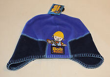Bob The Builder Boys Navy Blue Embroidered Fleece Long Side Beanie Size 4-6 New