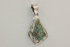 Signed Navajo Sterling Silver Number 8 Turquoise Necklace / Pendant