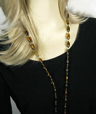 Necklace String Strand Brown Tortoiseshell Color Size 51 In Gold Tone VTG Lucite