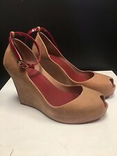 Melissa Patchuli wedge shoe in flocked pink and red size USA 10, new in box