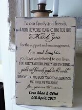 Shabby Wedding thank You Sign Chic  Large Gift Easel Sitter Personalised
