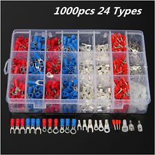 1000pcs 24 Types Insulated Crimp Terminals Kit Electrical Cable Pin Connectors