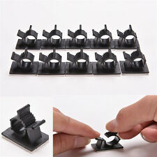 10x Cable Clips Adhesive Cord Management Black Wire Holder Organizer Clamp U87