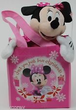 Disney Christmas Minnie Mouse Plush in a Pink Fabric Gift Tote Bag Set NWT