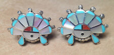 Native American ZUNI SunFace Earrings inlaid turquoise coral & MOP  signed CAB