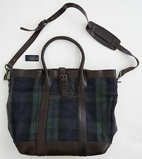 POLO RALPH LAUREN TARTAN Plaid Pattern Canvas Leather Tote Shoulder Bag