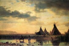 Art Oil painting View of Chimney Rock Ogalillalh Sioux Village in Foreground 36""