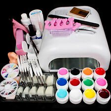 Pro  Full 36W White Cure Lamp Dryer & 12 Color UV Gel Nail Art Tools  Sets New
