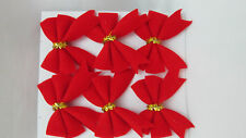 """Best Value 6 Miniature 1 1/2""""  by 1 1/8"""" Christmas bows - Fuzzy Red"""