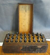 """VINTAGE BOYER CAMPBELL 27 PC.   5/'16""""  PIN PUNCH STAMPING SET METAL LEATHER"""