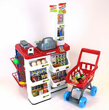 kids supermarket & childrens 35 piece role play superstore with light & sound