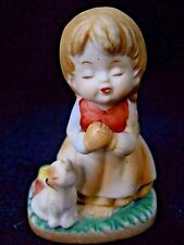 Vintage porcelain little praying girl and cat figurine / kitten