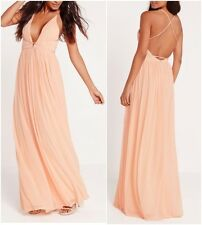 Missguided Strappy Pleated Plunge Maxi Dress Nude UK 8 US 4 EUR 36 (CAD21)