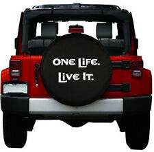 """Spare Wheel Tire Cover Series One Life Live It on 32"""" Black Denim Tire Cover"""