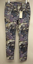 NEW sIMPLY vERA wANG Jeans Skinny-Slim Fit-Blue Feather Print-Stretch Pants Sz 2